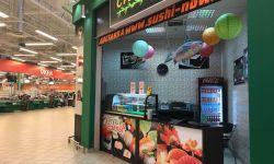 Суши в прикассовой зоне гипермаркета, 6500 чел/сут