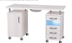 Маникюрный стол с УФ-блоком и пылесосом, двухтумбовый